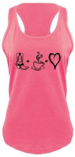 Ladies Racerback Tank Love Coffee & Country Cute Cowboy Boots & Coffee Shirt Hot Pink (Hot Pink Love Boots)
