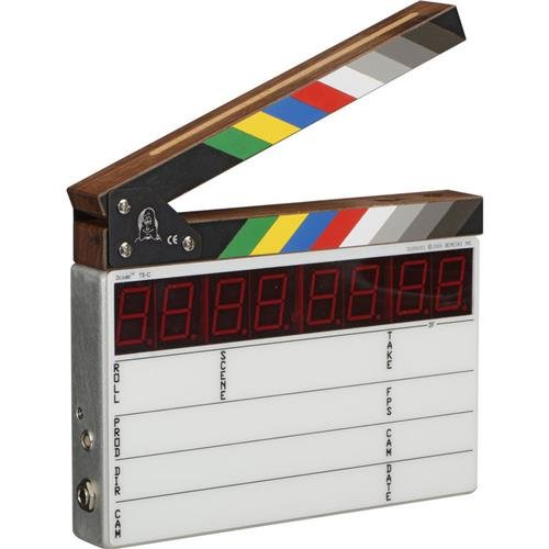 Denecke TS-C Compact Lightweight Time Code Slate with Sync Error Display, EL Backlight Display -With Color Clapper Sticks