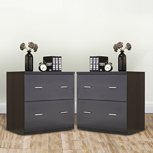 Mecor 2 Drawers Nightstands End Table with MDF Square Accent Table Bedroom Furniture Black Finish Set of 2