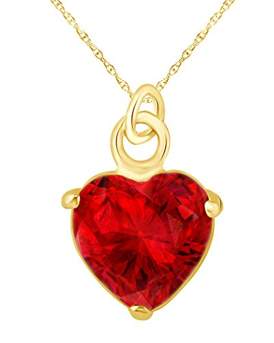 (Wishrocks Heart Shape Simulated Ruby Heart Charm Pendant Necklace in 14K Yellow Gold Over Sterling Silver)