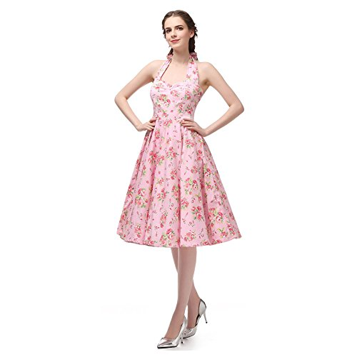 Halter Neck 100% Cotton Polka Dot Floral 50s Vintage Rockabilly Swing Dress (XXL (US10-12), Pink Peony) (Peony Tutu)