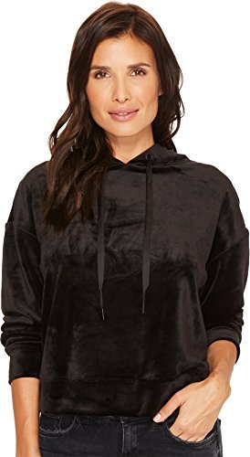 (Sanctuary Women's Melrose Brigade Velour Hoodie Sweatshirt Black X-Small)