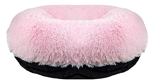Bessie and Barnie Signature Black Puma / Bubble Gum Luxury Shag Extra Plush Faux Fur Bagel Pet / Dog Bed (Multiple Sizes)