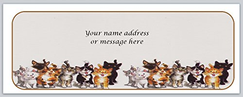 Cat Return Address Labels - 120 Personalized Return Address Labels Cute Cats (bo 668)