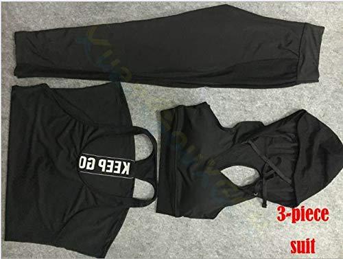 SGYHPL Sommer Frauen Gym Sport Weste Ärmelloses Shirt Fitness Laufbekleidung Tanktops Workout Yoga Unterhemden Quick Dry Tuniken L 3-Teiliger Anzug Schwarz