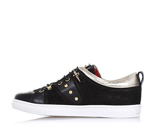 CESARE PACIOTTI - Chaussure à lacets noire, en cuir et tissu, fabriquée en Italie, avec ourlet supérieur en cuir doré, fille, filles, femme, femmes