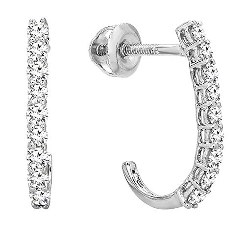 Dazzlingrock Collection 0.40 Carat (ctw) 14K Round White Diamond Ladies Fancy J Shaped Hoop Earrings, White Gold ()