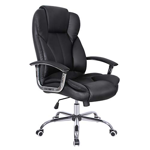 SONGMICS Office Chair with High Back Large Seat and Tilt Function Executive Swivel Computer Chair PU Black UOBG57B
