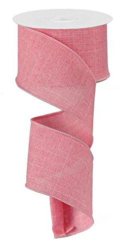 (Solid Canvas Wired Edge Ribbon, 10 Yards (Pink,)
