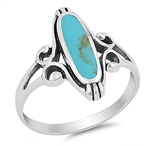 - Long Oval Turquoise .925 Sterling Silver Ring Size 8
