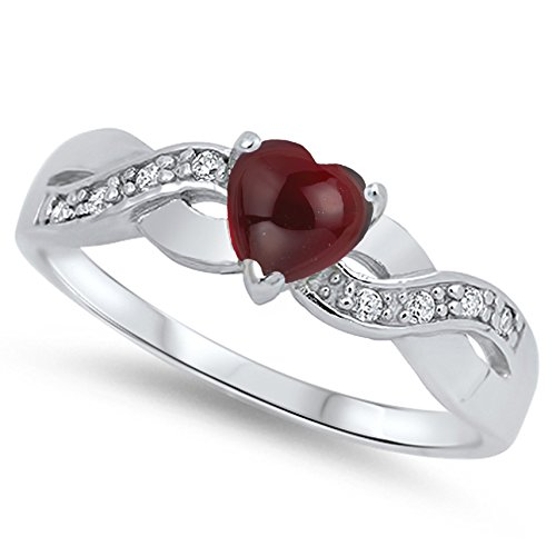 - 925 Sterling Silver Cabochon Natural Genuine Reddish Purple Garnet Infinity Knot Heart Promise Ring Size 4