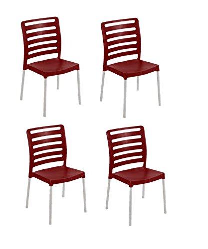Bordeaux Table Set - Tensai Diva Chair - Durable Plastic with Aluminum Legs  - Bordeaux - Set of 4