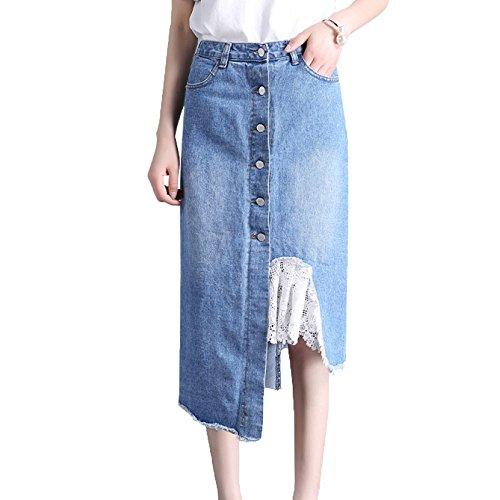 Midi Rodilla En Niais Verano Mujer Faldas Mezclilla Falda De La Hasta Blue FnA5qCw4