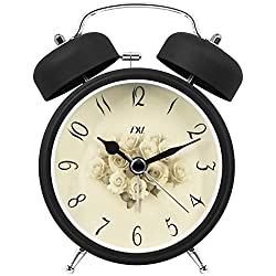 TXL 3.5 Twin Bell Alarm Clock Kids, Battery Operated with Nightlight, Handheld Sized, Non-Ticking Silent Metal Alarm Clocks for Bedrooms,Heavy Sleepers Bedside Analog Loud Alarm Clock, Rose Dial
