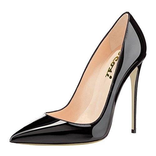 VOCOSI Women's High Heels,Pointed toe Patent Pumps Shoes for Ladies Party Dress 4.7 inches P-Black 7.5 US Black Patent Pointed Toe Pump