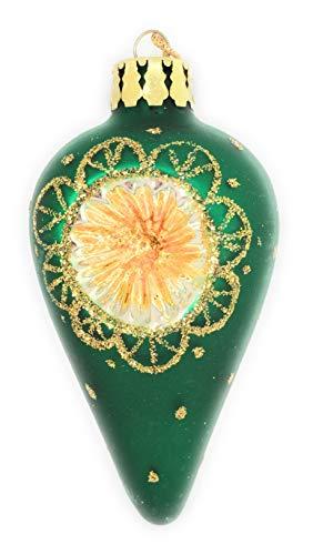 - Noel Rue Green Glass Teardrop Finial Christmas Tree Ornament