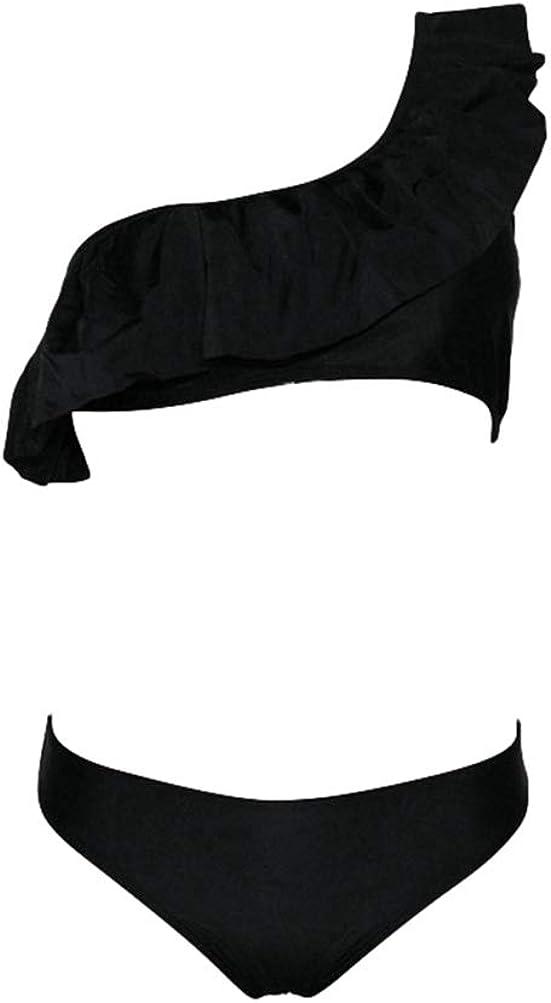 Haobing Bikini a Vita Bassa con Volant Spalla Donna Costumi da Bagno Triangolo Monokini