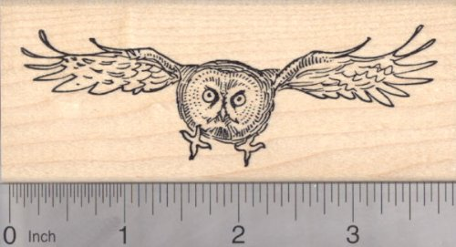 Great Gray Owl Rubber Stamp, In Flight ()