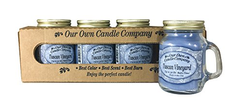 (Our Own Candle Company Tuscan Vineyard Scented Mini Mason Jar Candle, 3.5 Ounce (4 Pack))