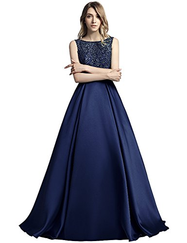 Beaded Gown Long Formal Prom Sleeve Women's HLX051 Dress House Belle Blue Lx443 navy Evening qHFYW0w