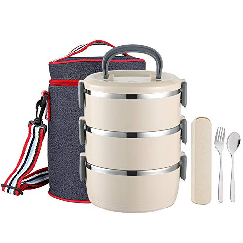 YBOBK HOME Insulated Lunch Box Leak Proof Lunch Container All-in-one Stackable Lunch Box Stainless Steel Bento Lunch Box with Bag and Portable Flatware Set for Adults (Beige)