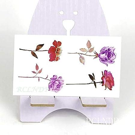 5pcs Impermeable Rosa púrpura Etiqueta engomada del Tatuaje Flor ...