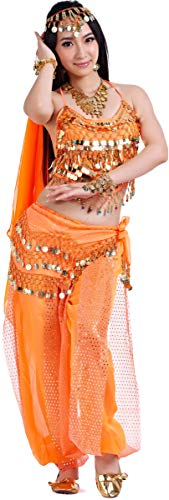 Carnival Costume Halloween Accessories Sets Belly Dance Outfit for Women Orange -