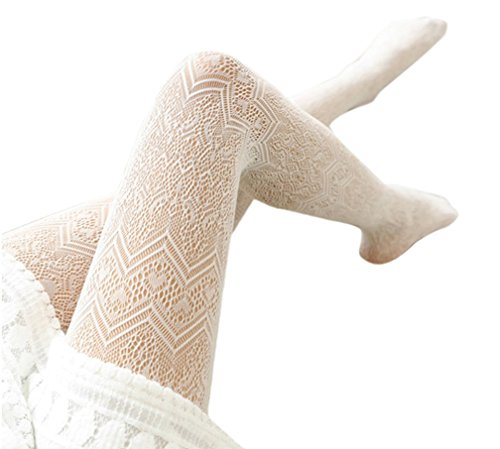 Off White Tights - Ealafee Lady Lace Hollow Out Tight Sock Off White Lace Floral Pantyhose Stocking