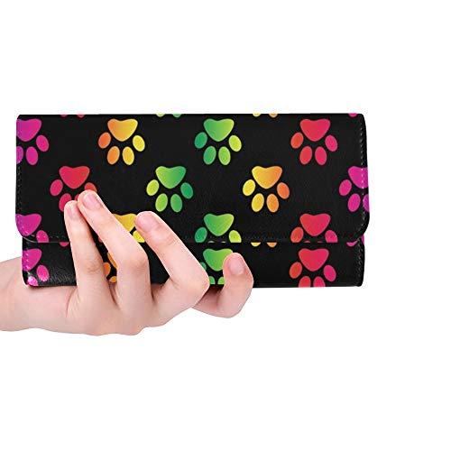 Unique Custom Paw Prints Gradient Rainbow Colors On Women Trifold Wallet Long Purse Credit Card Holder Case Handbag