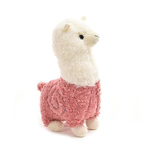 [COFFLED Adorable Alpaca Sheep Stand Stuffed Animal Toys for Baby Nursery Decoration; Plush Elephant Rattle Ring Attract Baby's] (Baby Fish Costume Diy)