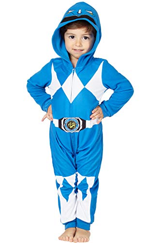 Blue Power Ranger Outfit (Power Rangers Boys' Toddler Blue Critter Pajama,)