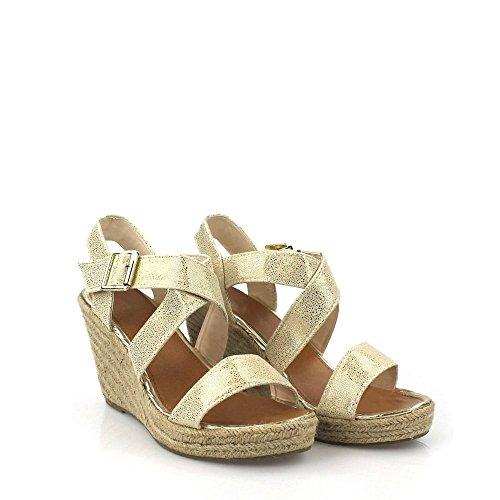 Miss Diva Dianna Ladies Women High Wedge Ankle Strap Sling Back Cross Strap Espadrille Open Toe Wedge Sandal Beige 3IYabMfg