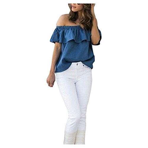 Ruffle Top Denim (XWDA Off Shoulder Tops Women Denim Ruffle Loose Blouse Shirt T-shirt Tee (XL))