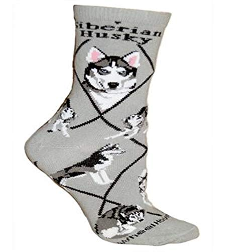 Siberian Husky Socks - Siberian Husky Adult Cotton Puppy Dog Socks by WHD,Gray,9 - 11