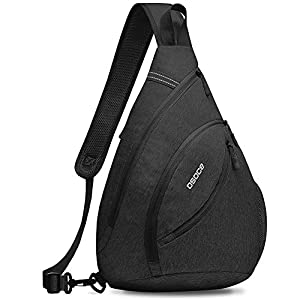 OSOCE Sling Cross Body Backpack, Multipurpose Water Resistant Outdoor Crossbody Shoulder Backpack, Anti Theft Chest Pack, Travel Bags Daypack for Men Women (B11-Black)