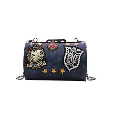 personnalité Seau ZHRUI Femme Sac Petit Unique Sac rétro épaule Diagonale Badge Chaîne Sauvage Bleu wwzHq7xB4