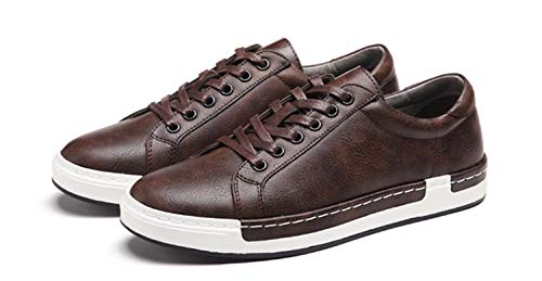 Gran Zapatos Hombres Moda de Zapatillas tamaño Marrón de con Transpirable Ocasionales para Punta Redonda de Cordones de de Moda conducción qrxqPAB