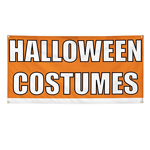 (Vinyl Banner Sign Halloween Costumes #1 Style F Outdoor Marketing Advertising Orange - 40inx100in (Multiple Sizes Available), 8 Grommets, Set of)