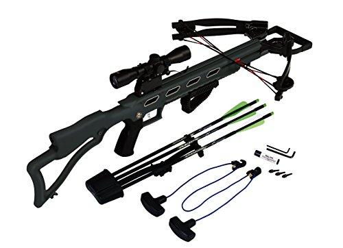 Carbon-Express-X-Force-Advantex-Crossbow-Kit-Rope-Cocker-3-Arrow-Quiver-3-Crossbolts-Rail-Lubricant-3-Practice-Points-4x32-Scope-Tan