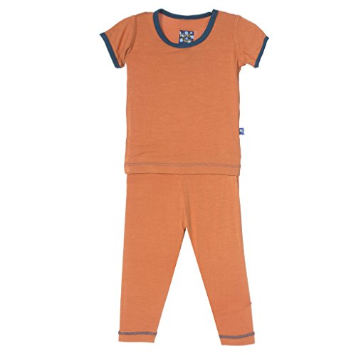 (KicKee Pants Solid Short Sleeve Pajama with Contrast Trim Little Boys, Copper, 12- 18)