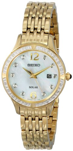 Stamped Leather Band Dress Watch (Seiko Women's SUT094 Stainless Steel Solar Watch with Diamonds)