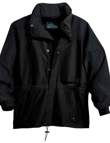 (Tri-Mountain 9300 Colorblock nylon parka with mesh lining - Black / Black - M)