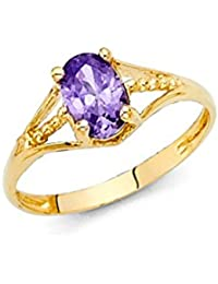 14K Yellow Solid Gold Cubic Zirconia CZ February Birth Stone Small Babies Ring
