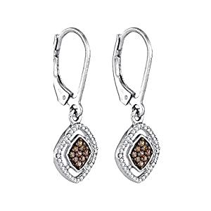 Cognac and White Diamond Dangle Earrings in 10K White Gold (1/3 cttw)