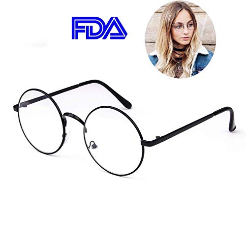 (Retro Round Glasses Clear Lens Metal Frame UV400 Protection for Men Women Black)