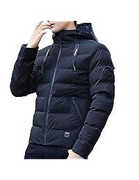 PENATE Men's Winter Warm Jacket Hooded Short Slim Waterproof Thick Coat Outwear