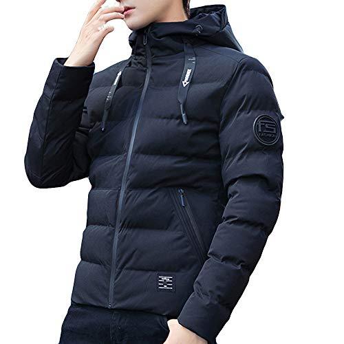 Forthery Men's Winter Warm Faux Fur Lined Coat Ski Jacket Windproof Faux Fur Lined Outwear(Black,US Size L = Tag XL)