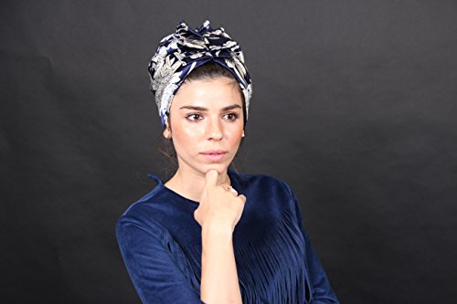 Turban headwrap, floral blue hair turban, women hat, fashion turban, hair bands, hijab fashion, hair accessories, turban hijab, cancer hat