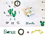 Extra Thick Fleece Baby Monthly Age & Growth Milestone Blanket Large 60'' x 40''  Bonus Unisex Leaf Wreath  Floral lil Cactus Girls or Boys Photo Backdrop  Best Baby Shower Gift Keepsake  Swaddling  Nap