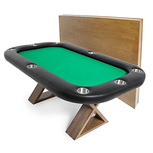 BBO Poker Helmsley Poker Table for 8 Players with Green Speed Cloth Playing Surface, 72 x 46-Inch, Includes Matching Dining Top by BBO Poker